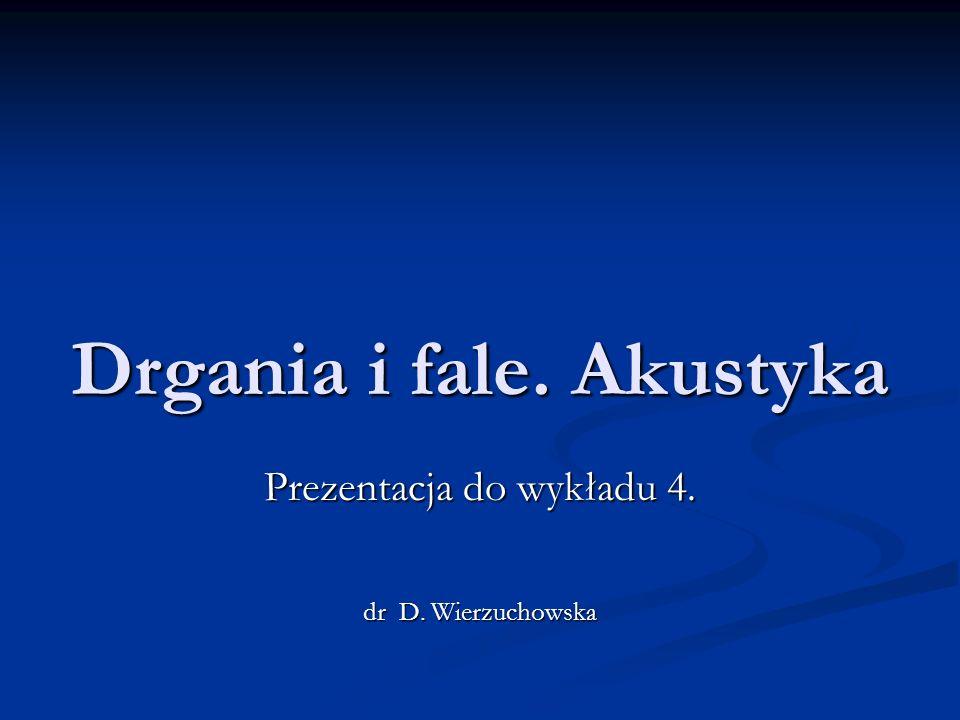 Drgania i fale. Akustyka Prezentacja do wykładu 4. dr D. Wierzuchowska