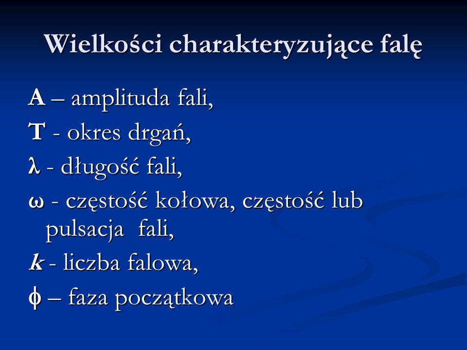 Wielkości charakteryzujące falę A – amplituda fali, T - okres drgań, λ - długość fali, ω - częstość kołowa, częstość lub pulsacja fali, k - liczba falowa, – faza początkowa – faza początkowa