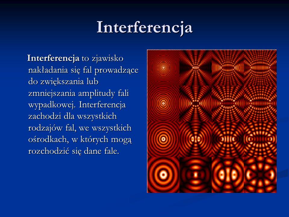 Interferencja Interferencja to zjawisko nakładania się fal prowadzące do zwiększania lub zmniejszania amplitudy fali wypadkowej. Interferencja zachodz