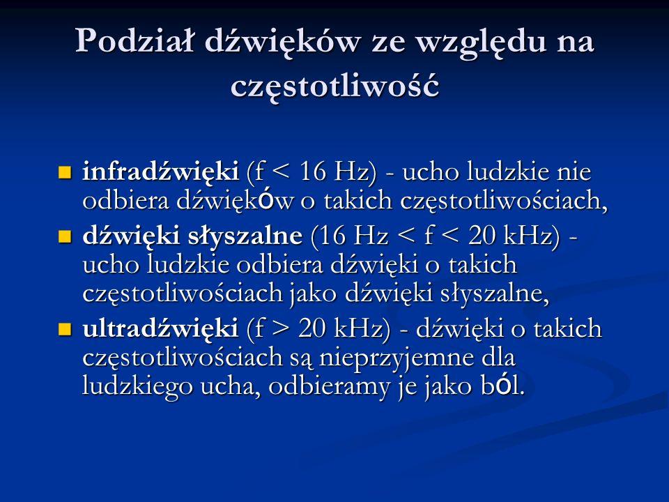 Podział dźwięków ze względu na częstotliwość infradźwięki (f < 16 Hz) - ucho ludzkie nie odbiera dźwięk ó w o takich częstotliwościach, infradźwięki (f < 16 Hz) - ucho ludzkie nie odbiera dźwięk ó w o takich częstotliwościach, dźwięki słyszalne (16 Hz < f < 20 kHz) - ucho ludzkie odbiera dźwięki o takich częstotliwościach jako dźwięki słyszalne, dźwięki słyszalne (16 Hz < f < 20 kHz) - ucho ludzkie odbiera dźwięki o takich częstotliwościach jako dźwięki słyszalne, ultradźwięki (f > 20 kHz) - dźwięki o takich częstotliwościach są nieprzyjemne dla ludzkiego ucha, odbieramy je jako b ó l.