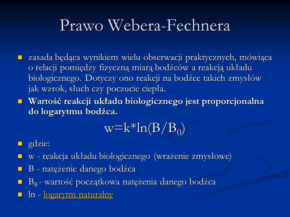 Prawo Webera-Fechnera zasada będąca wynikiem wielu obserwacji praktycznych, mówiąca o relacji pomiędzy fizyczną miarą bodźców a reakcją układu biologi