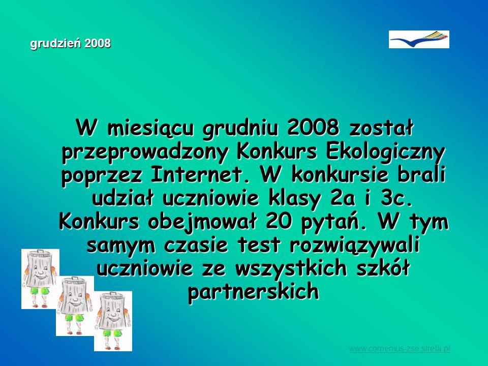 W miesiącu grudniu 2008 został przeprowadzony Konkurs Ekologiczny poprzez Internet. W konkursie brali udział uczniowie klasy 2a i 3c. Konkurs obejmowa