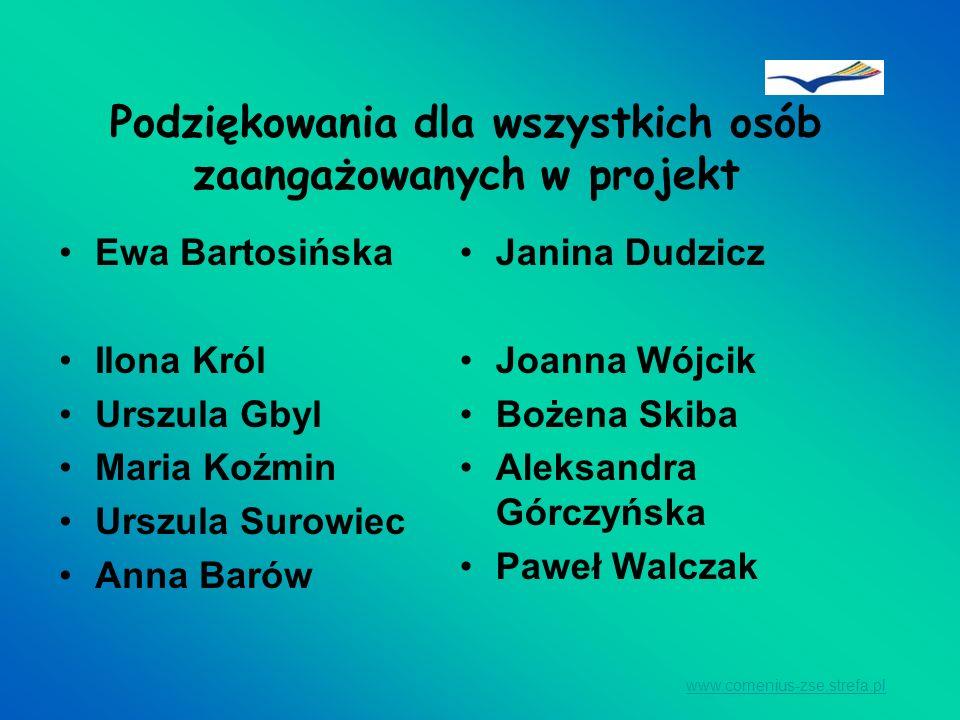 Podziękowania dla wszystkich osób zaangażowanych w projekt Ewa Bartosińska Ilona Król Urszula Gbyl Maria Koźmin Urszula Surowiec Anna Barów Janina Dud