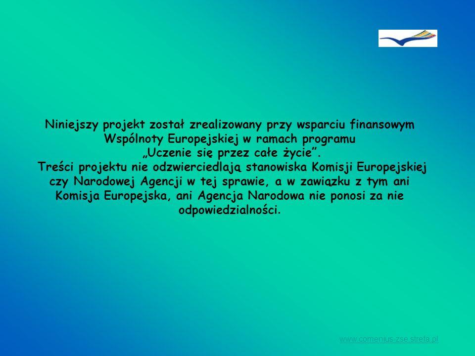 Niniejszy projekt został zrealizowany przy wsparciu finansowym Wspólnoty Europejskiej w ramach programu Uczenie się przez całe życie. Treści projektu