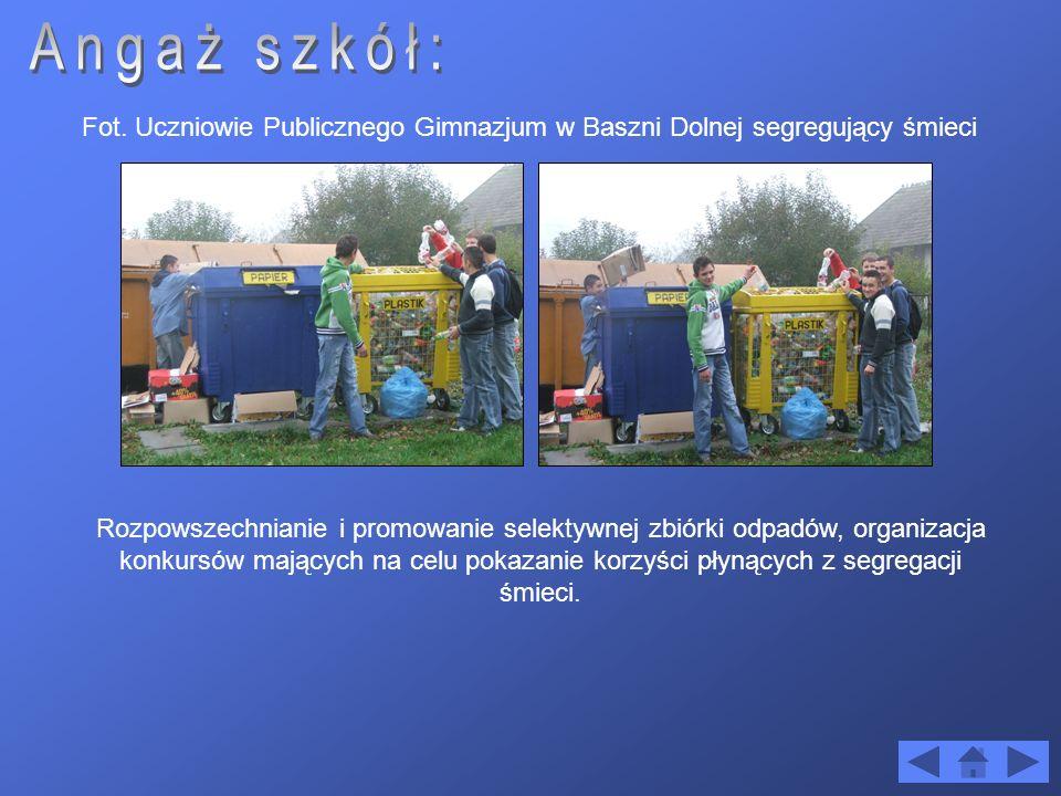 Fot. Uczniowie Publicznego Gimnazjum w Baszni Dolnej segregujący śmieci Rozpowszechnianie i promowanie selektywnej zbiórki odpadów, organizacja konkur