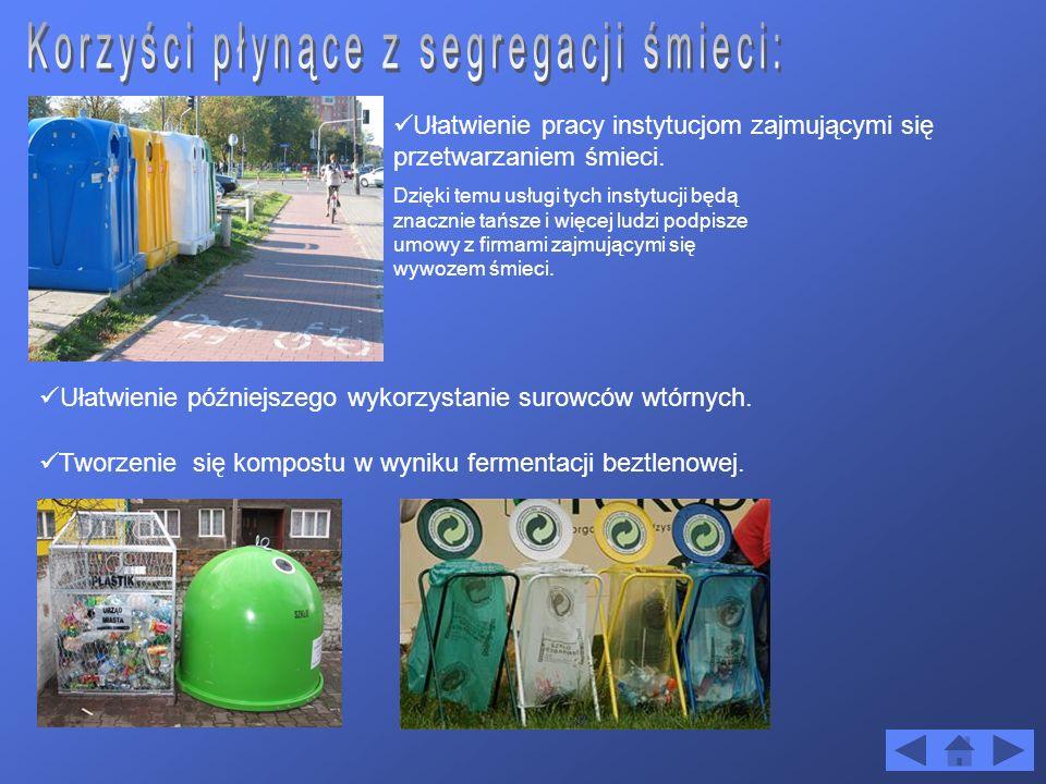 Ułatwienie późniejszego wykorzystanie surowców wtórnych. Ułatwienie pracy instytucjom zajmującymi się przetwarzaniem śmieci. Tworzenie się kompostu w