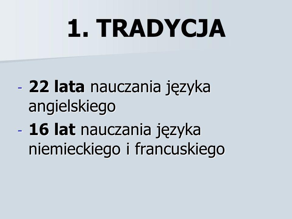 1. TRADYCJA - 22 lata nauczania języka angielskiego - 16 lat nauczania języka niemieckiego i francuskiego