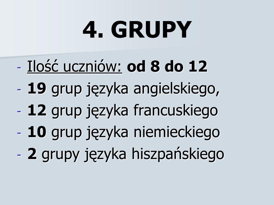 4. GRUPY - Ilość uczniów: od 8 do 12 - 19 grup języka angielskiego, - 12 grup języka francuskiego - 10 grup języka niemieckiego - 2 grupy języka hiszp