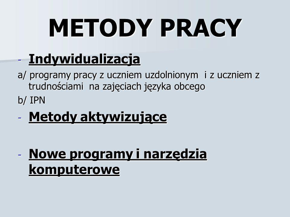 METODY PRACY - Indywidualizacja a/ programy pracy z uczniem uzdolnionym i z uczniem z trudnościami na zajęciach języka obcego b/ IPN - Metody aktywizu