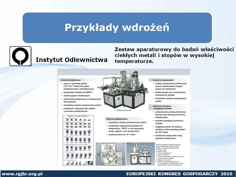 www.rgjbr.org.pl EUROPEJSKI KONGRES GOSPODARCZY 2010 Przykłady wdrożeń Zestaw aparaturowy do badań właściwości ciekłych metali i stopów w wysokiej temperaturze.