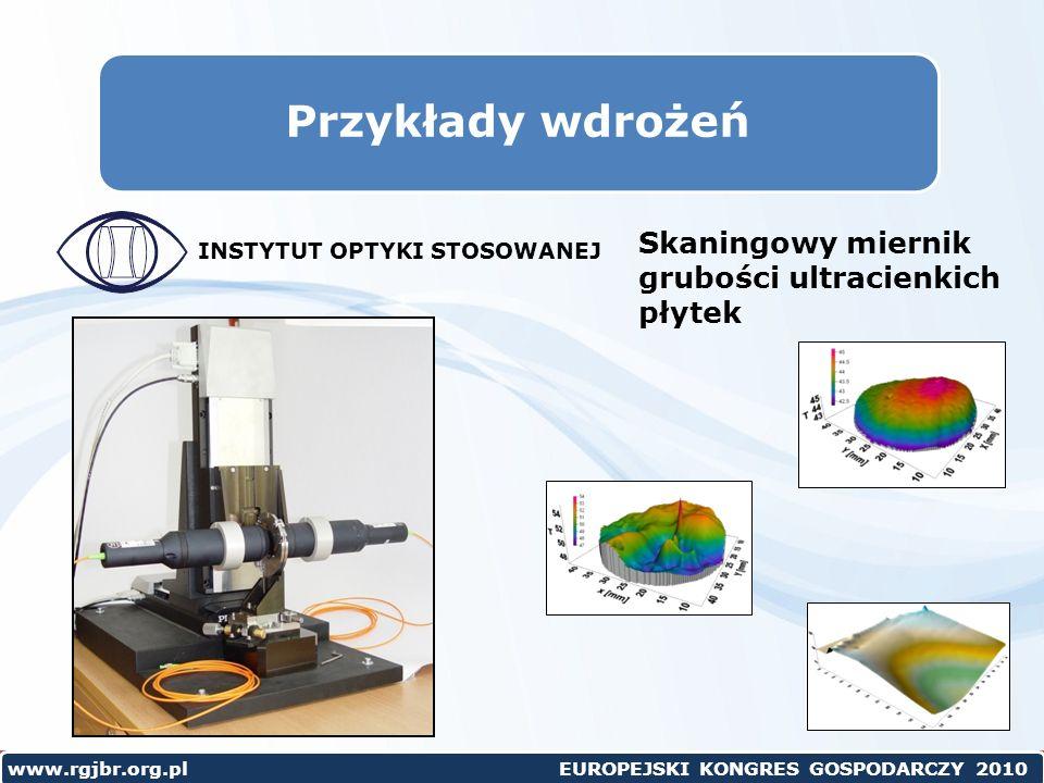 www.rgjbr.org.pl EUROPEJSKI KONGRES GOSPODARCZY 2010 Przykłady wdrożeń Skaningowy miernik grubości ultracienkich płytek INSTYTUT OPTYKI STOSOWANEJ