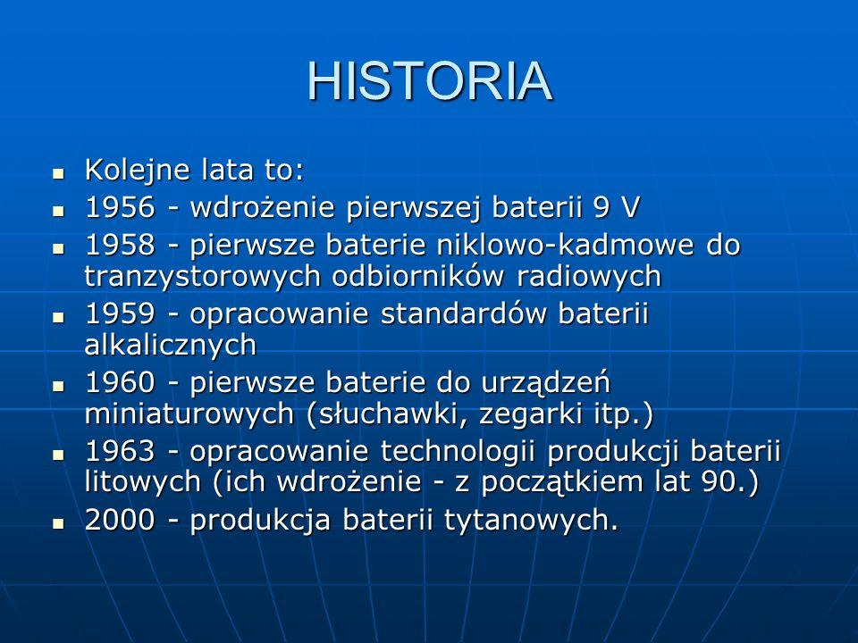 HISTORIA Kolejne lata to: 1956 - wdrożenie pierwszej baterii 9 V 1958 - pierwsze baterie niklowo-kadmowe do tranzystorowych odbiorników radiowych 1959