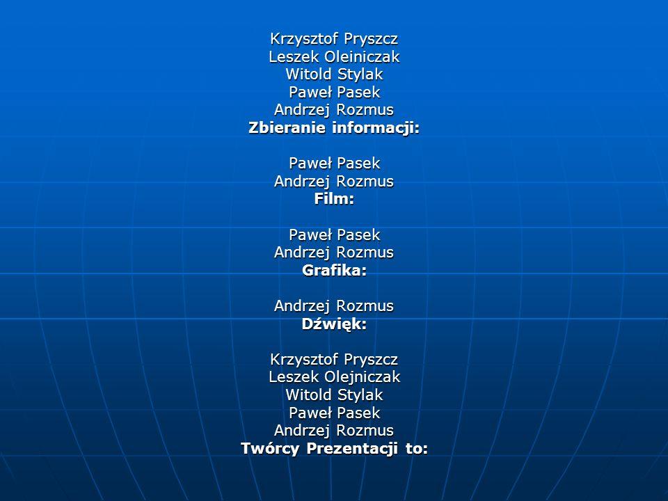 Krzysztof Pryszcz Leszek Oleiniczak Witold Stylak Paweł Pasek Andrzej Rozmus Zbieranie informacji: Paweł Pasek Andrzej Rozmus Film: Paweł Pasek Andrze
