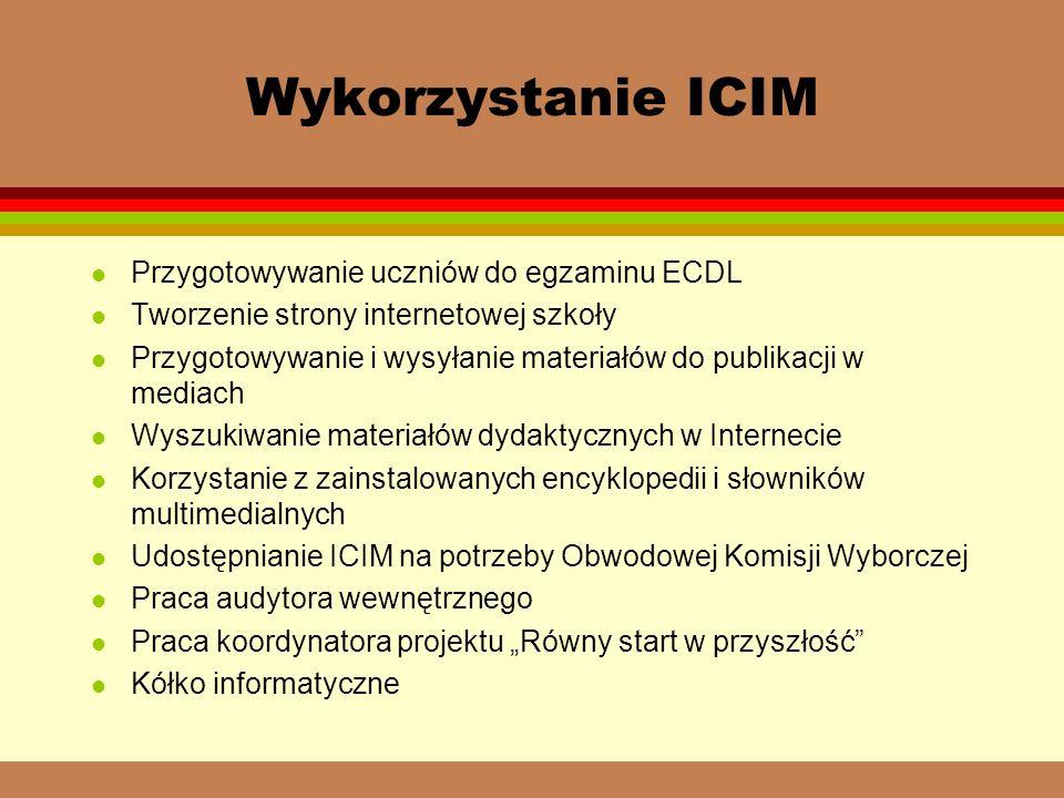 Wykorzystanie ICIM l Przygotowywanie uczniów do egzaminu ECDL l Tworzenie strony internetowej szkoły l Przygotowywanie i wysyłanie materiałów do publikacji w mediach l Wyszukiwanie materiałów dydaktycznych w Internecie l Korzystanie z zainstalowanych encyklopedii i słowników multimedialnych l Udostępnianie ICIM na potrzeby Obwodowej Komisji Wyborczej l Praca audytora wewnętrznego l Praca koordynatora projektu Równy start w przyszłość l Kółko informatyczne