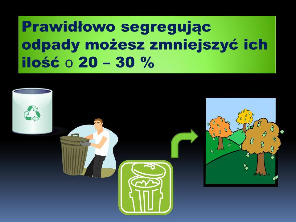Prawidłowo segregując odpady możesz zmniejszyć ich ilość o 20 – 30 %