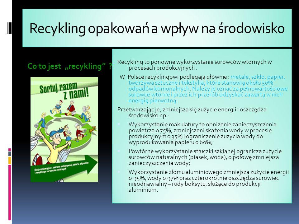 Recykling opakowań a wpływ na środowisko Co to jest recykling .