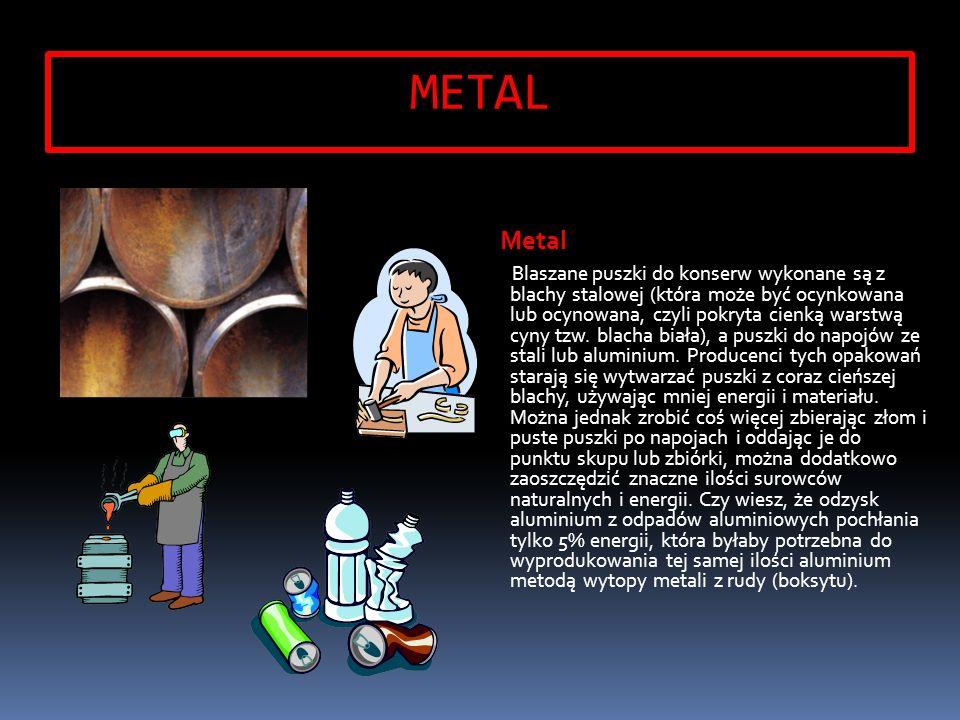METAL Metal Blaszane puszki do konserw wykonane są z blachy stalowej (która może być ocynkowana lub ocynowana, czyli pokryta cienką warstwą cyny tzw.