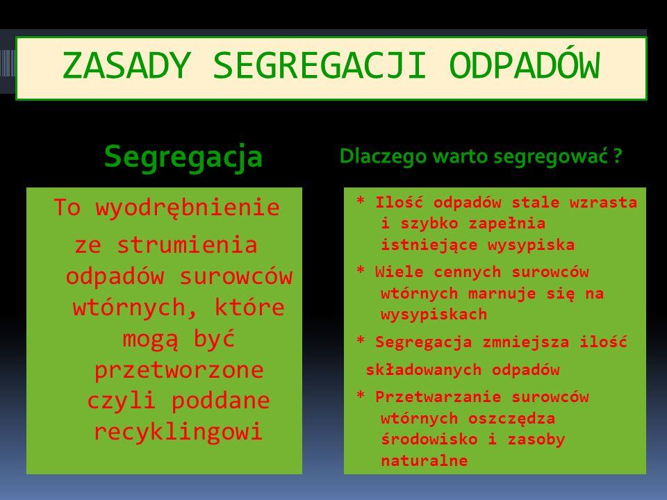 ZASADY SEGREGACJI ODPADÓW Segregacja To wyodrębnienie ze strumienia odpadów surowców wtórnych, które mogą być przetworzone czyli poddane recyklingowi Dlaczego warto segregować .