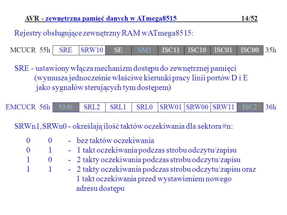 AVR - zewnętrzna pamięć danych w ATmega8515 14/52 Rejestry obsługujące zewnętrzny RAM wATmega8515: SRESRW10SESM1ISC11ISC10ISC01ISC00 MCUCR35h 55h SRE