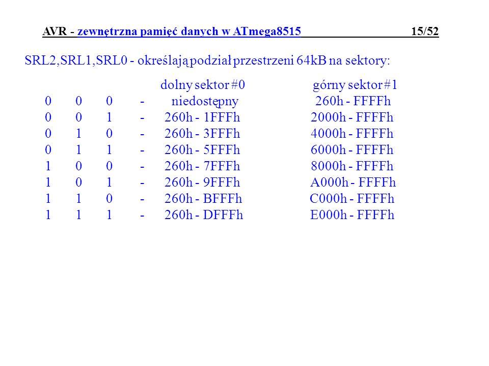 AVR - zewnętrzna pamięć danych w ATmega8515 15/52 SRL2,SRL1,SRL0 - określają podział przestrzeni 64kB na sektory: dolny sektor #0 górny sektor #1 0 0