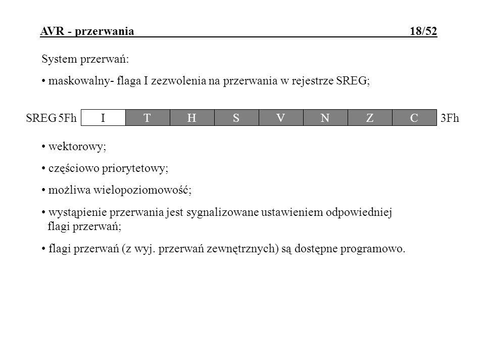 AVR - przerwania 18/52 System przerwań: maskowalny- flaga I zezwolenia na przerwania w rejestrze SREG; wektorowy; częściowo priorytetowy; możliwa wiel