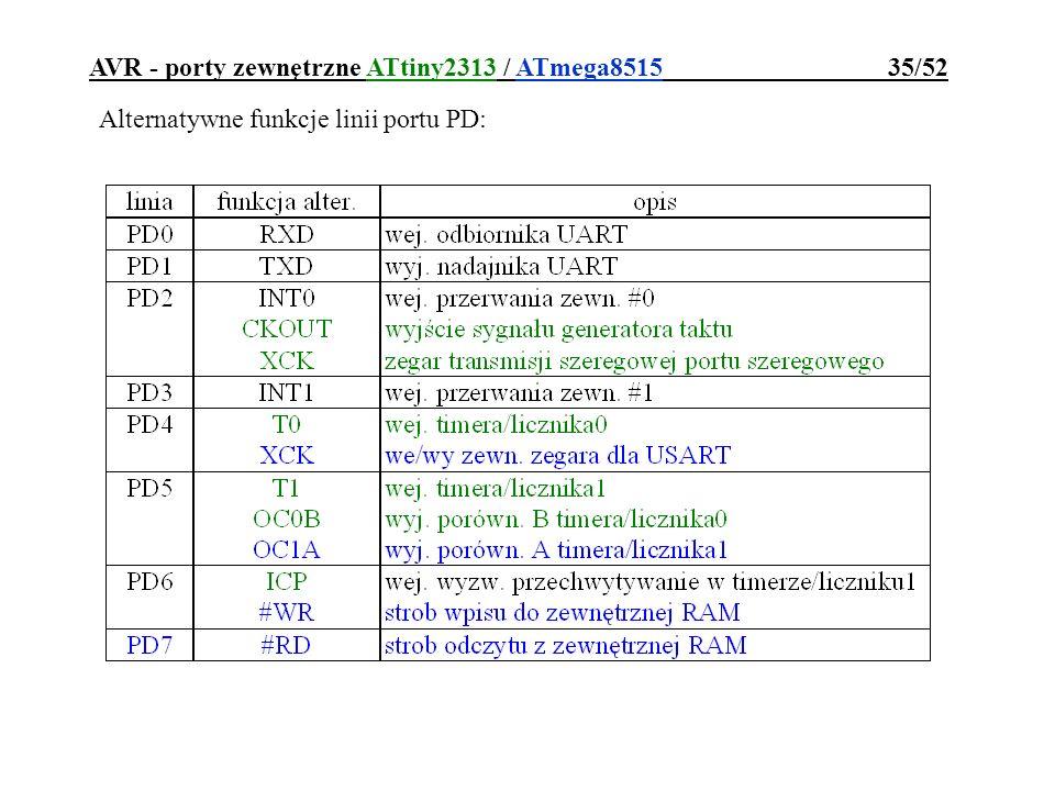 AVR - porty zewnętrzne ATtiny2313 / ATmega8515 35/52 Alternatywne funkcje linii portu PD: