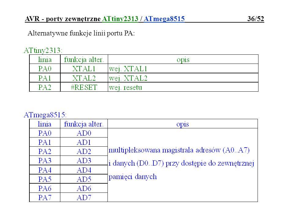 AVR - porty zewnętrzne ATtiny2313 / ATmega8515 36/52 Alternatywne funkcje linii portu PA: