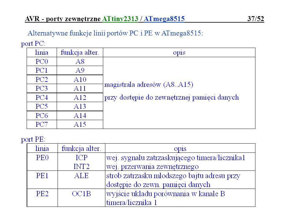 AVR - porty zewnętrzne ATtiny2313 / ATmega8515 37/52 Alternatywne funkcje linii portów PC i PE w ATmega8515: