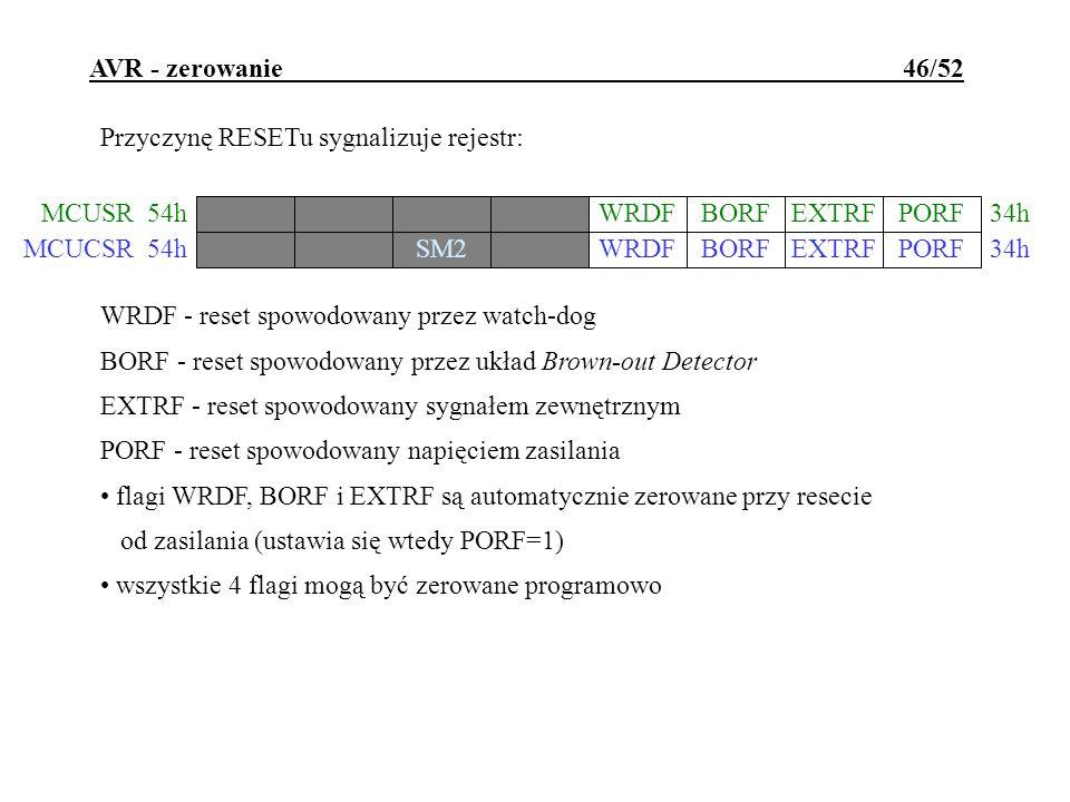 AVR - zerowanie 46/52 Przyczynę RESETu sygnalizuje rejestr: WRDFBORFEXTRFPORF MCUSR34h 54h WRDF - reset spowodowany przez watch-dog BORF - reset spowo