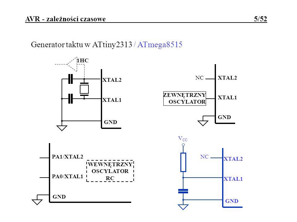 AVR - zależności czasowe 5/52 Generator taktu w ATtiny2313 / ATmega8515 GND XTAL2 XTAL1 NC ZEWNĘTRZNY OSCYLATOR XTAL2 XTAL1 1HC GND WEWNĘTRZNY OSCYLAT