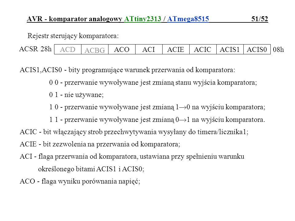 AVR - komparator analogowy ATtiny2313 / ATmega8515 51/52 Rejestr sterujący komparatora: ACD ACBG ACOACIACIEACICACIS1ACIS0 ACSR 08h 28h ACIS1,ACIS0 - b
