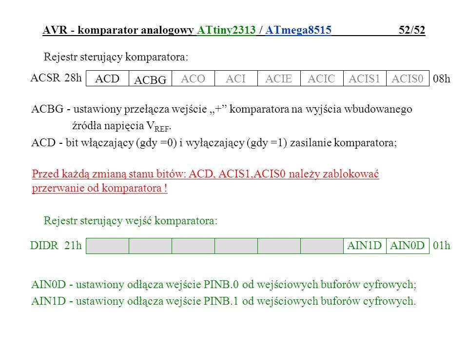AVR - komparator analogowy ATtiny2313 / ATmega8515 52/52 Rejestr sterujący komparatora: ACD ACBG ACOACIACIEACICACIS1ACIS0 ACSR 08h 28h ACBG - ustawion