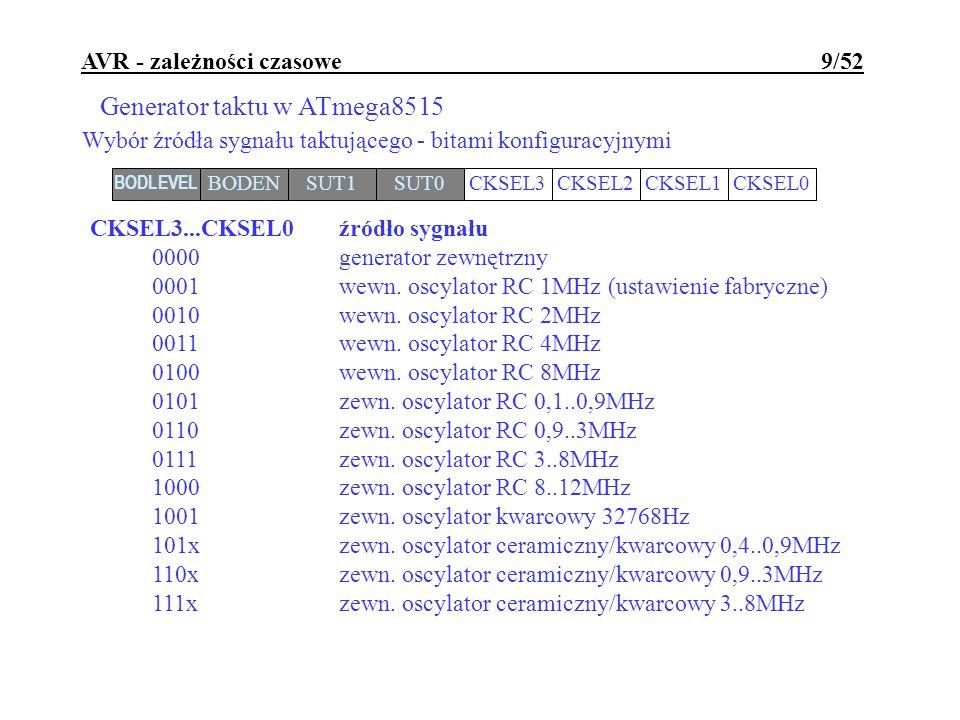 AVR - zależności czasowe 9/52 Generator taktu w ATmega8515 Wybór źródła sygnału taktującego - bitami konfiguracyjnymi BODLEVEL BODENSUT1SUT0CKSEL3CKSE