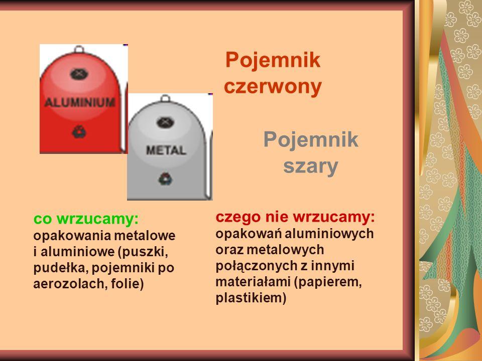 Pojemnik czerwony co wrzucamy: opakowania metalowe i aluminiowe (puszki, pudełka, pojemniki po aerozolach, folie) Pojemnik szary czego nie wrzucamy: o