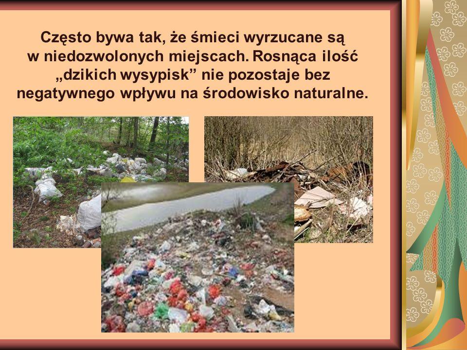 Często bywa tak, że śmieci wyrzucane są w niedozwolonych miejscach. Rosnąca ilość dzikich wysypisk nie pozostaje bez negatywnego wpływu na środowisko