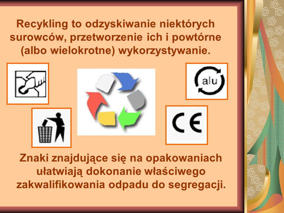 Recykling to odzyskiwanie niektórych surowców, przetworzenie ich i powtórne (albo wielokrotne) wykorzystywanie. Znaki znajdujące się na opakowaniach u