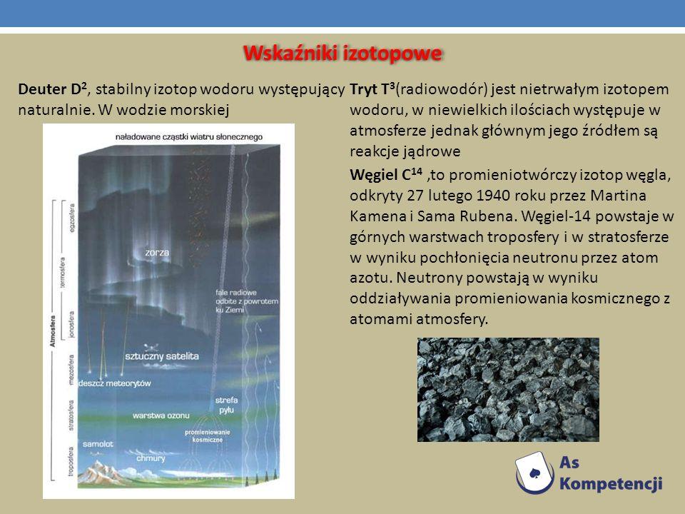 Wskaźniki izotopowe Deuter D 2, stabilny izotop wodoru występujący naturalnie. W wodzie morskiej Tryt T 3 (radiowodór) jest nietrwałym izotopem wodoru