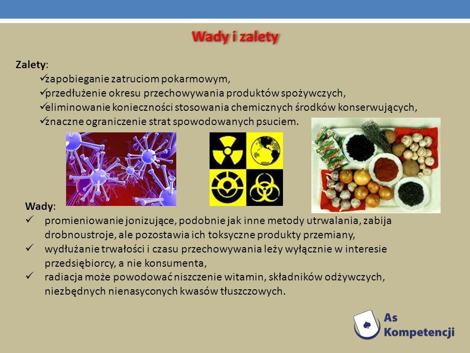 Wady i zalety Zalety: zapobieganie zatruciom pokarmowym, przedłużenie okresu przechowywania produktów spożywczych, eliminowanie konieczności stosowani