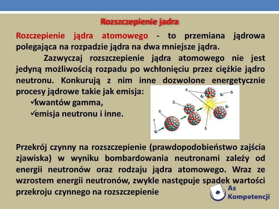 Rozszczepienie jadra Rozczepienie jądra atomowego - to przemiana jądrowa polegająca na rozpadzie jądra na dwa mniejsze jądra. Zazwyczaj rozszczepienie