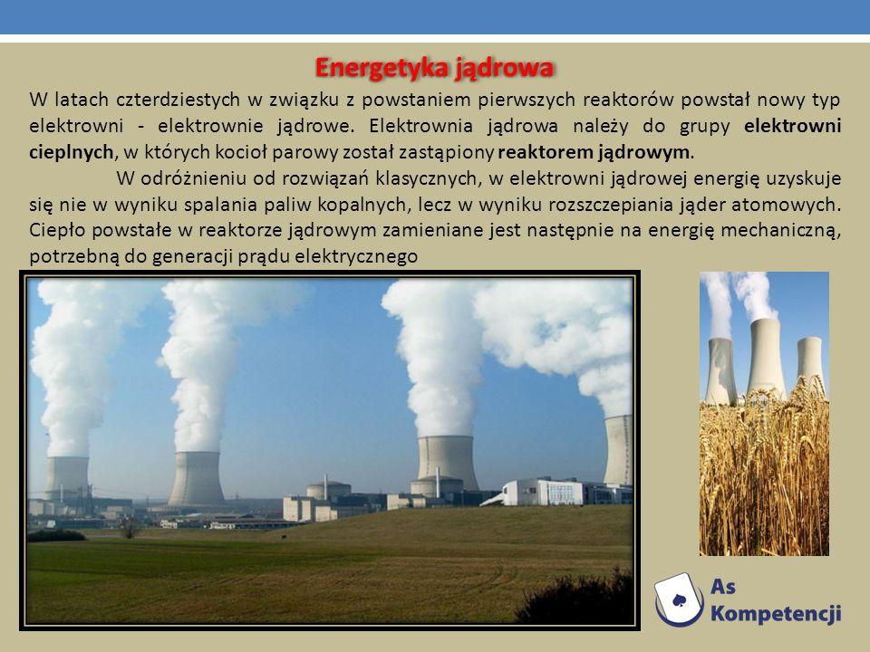 W latach czterdziestych w związku z powstaniem pierwszych reaktorów powstał nowy typ elektrowni - elektrownie jądrowe. Elektrownia jądrowa należy do g