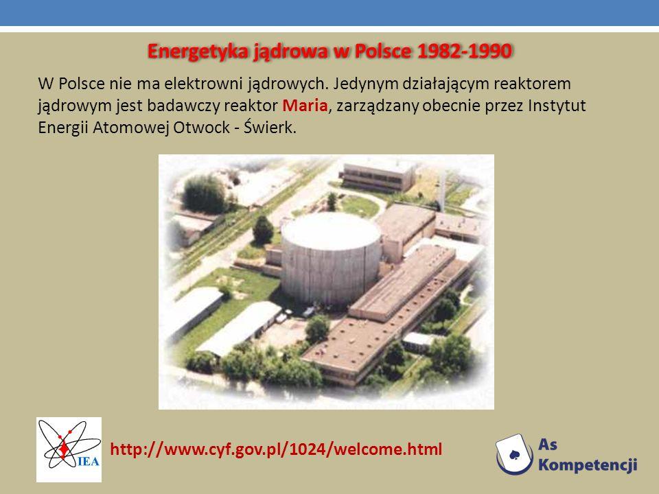 Energetyka jądrowa w Polsce 1982-1990 W Polsce nie ma elektrowni jądrowych. Jedynym działającym reaktorem jądrowym jest badawczy reaktor Maria, zarząd
