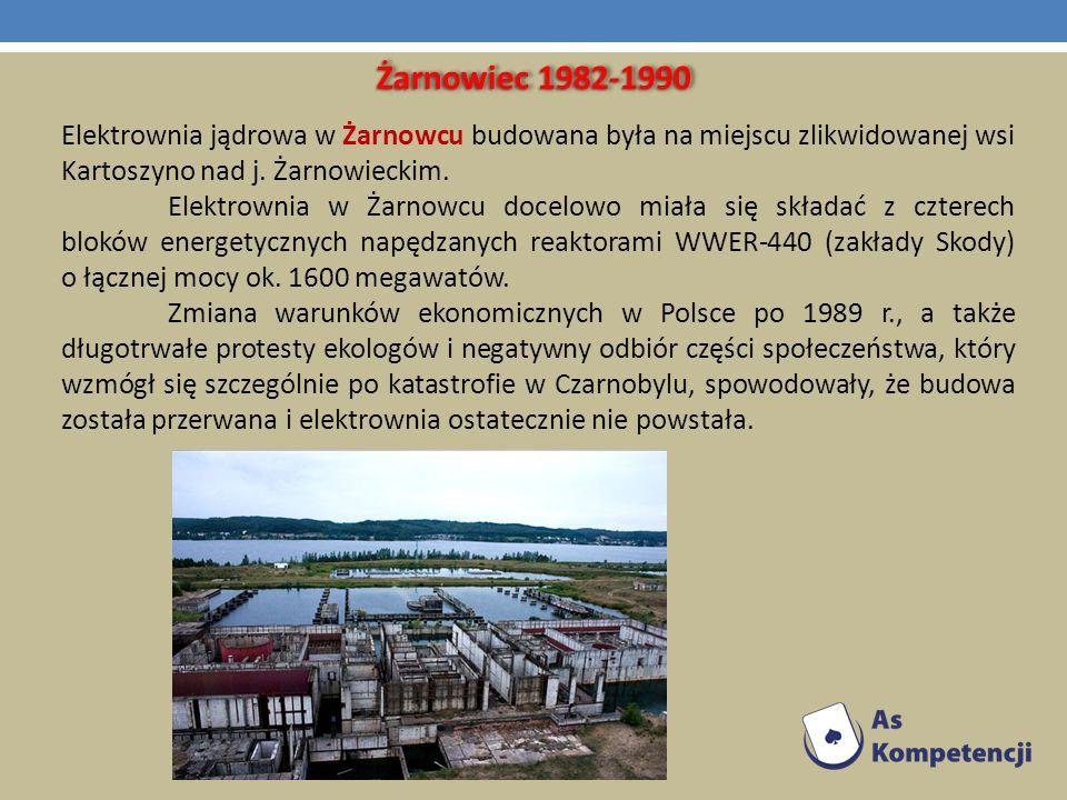 Żarnowiec 1982-1990 Elektrownia jądrowa w Żarnowcu budowana była na miejscu zlikwidowanej wsi Kartoszyno nad j. Żarnowieckim. Elektrownia w Żarnowcu d
