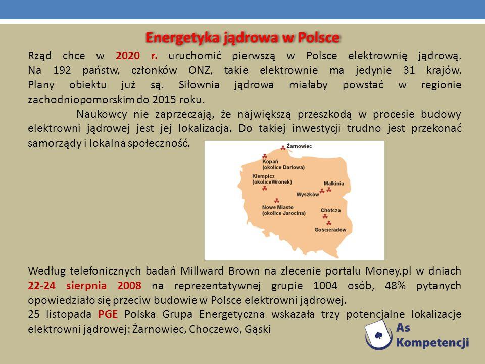 Energetyka jądrowa w Polsce Rząd chce w 2020 r. uruchomić pierwszą w Polsce elektrownię jądrową. Na 192 państw, członków ONZ, takie elektrownie ma jed