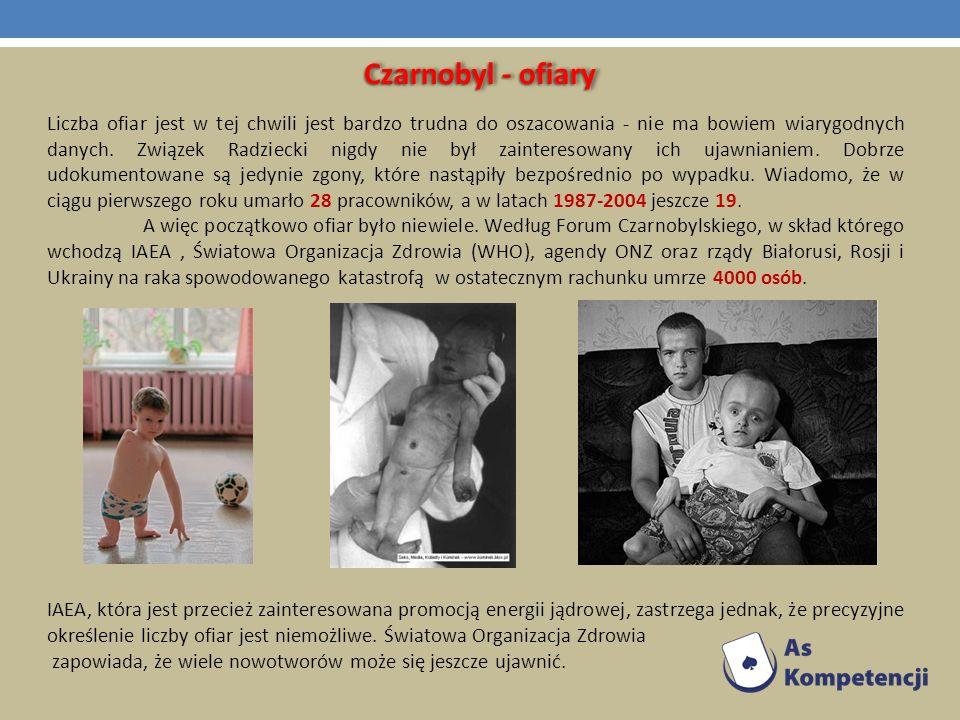 Czarnobyl - ofiary Liczba ofiar jest w tej chwili jest bardzo trudna do oszacowania - nie ma bowiem wiarygodnych danych. Związek Radziecki nigdy nie b