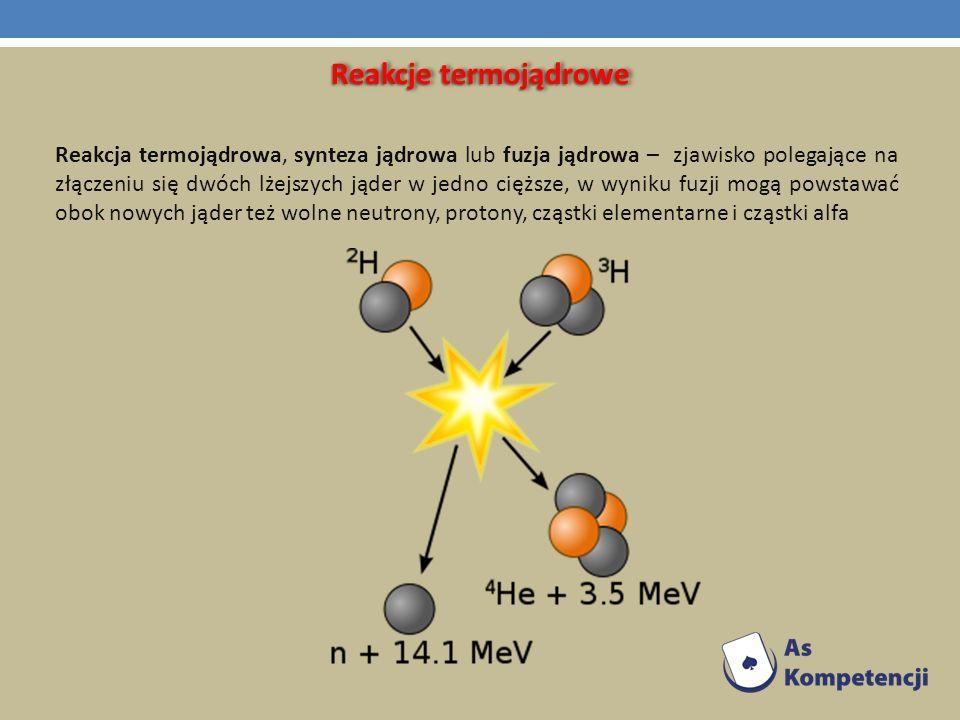 Reakcje termojądrowe Reakcja termojądrowa, synteza jądrowa lub fuzja jądrowa – zjawisko polegające na złączeniu się dwóch lżejszych jąder w jedno cięż