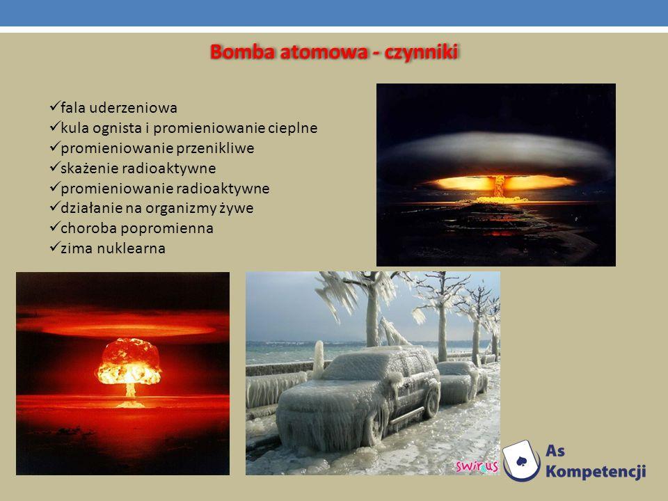 Bomba atomowa - czynniki fala uderzeniowa kula ognista i promieniowanie cieplne promieniowanie przenikliwe skażenie radioaktywne promieniowanie radioa