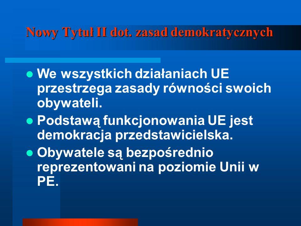 Nowy Tytuł II dot. zasad demokratycznych We wszystkich działaniach UE przestrzega zasady równości swoich obywateli. Podstawą funkcjonowania UE jest de