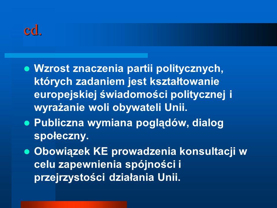 cd. Wzrost znaczenia partii politycznych, których zadaniem jest kształtowanie europejskiej świadomości politycznej i wyrażanie woli obywateli Unii. Pu