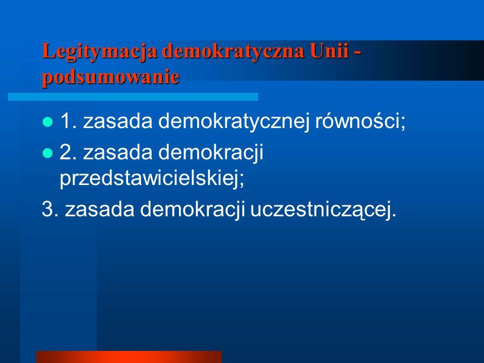 Legitymacja demokratyczna Unii - podsumowanie 1. zasada demokratycznej równości; 2. zasada demokracji przedstawicielskiej; 3. zasada demokracji uczest