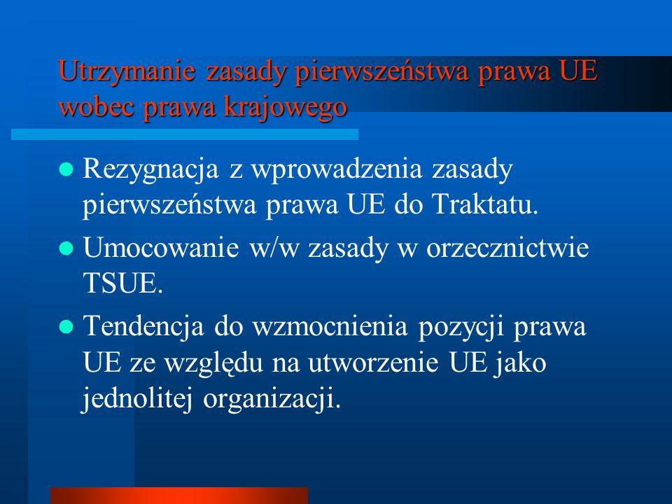 Utrzymanie zasady pierwszeństwa prawa UE wobec prawa krajowego Rezygnacja z wprowadzenia zasady pierwszeństwa prawa UE do Traktatu. Umocowanie w/w zas